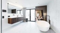 """Badewanne """"Spoon XL"""" von Agape, Waschtisch von domovari, die Holzfronten sind Individualanfertigungen Naturstein Salvatori"""